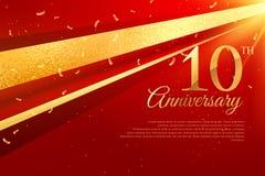 10th rocznicowy świętowanie karty szablon Zdjęcia Stock