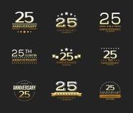 25th rocznicowy świętowanie loga set 25 rok jubileuszu sztandar Zdjęcie Royalty Free