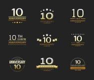 10th rocznicowy świętowanie loga set 10 rok jubileuszu sztandar Royalty Ilustracja