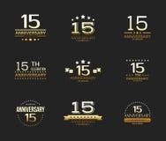 15th rocznicowy świętowanie loga set 15 rok jubileuszu sztandar Fotografia Royalty Free