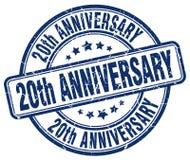 20th rocznicowy błękita znaczek Fotografia Royalty Free