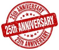 25th rocznicowy czerwień znaczek ilustracja wektor