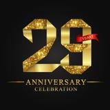 29th rocznicowy roku świętowania logotyp Loga tasiemkowego złota numerowy i czerwony faborek na czarnym tle royalty ilustracja