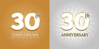 30th Rocznicowy tło - 30 rok świętowania srebro i złota Obraz Stock