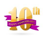 10th rocznicowy tasiemkowy ilustracyjny projekt Zdjęcia Stock