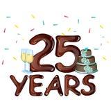 25th rok świętowania Rocznicowa karta Zdjęcie Royalty Free