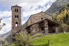 12th sant de joan för kyrka för århundrade för caselles för andorra byggandecanillo romanesque Royaltyfria Foton