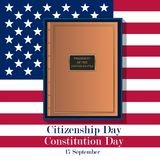 17th September American Citizenship Day Poster Design template. The book of the constitution of the United States against the background of the American flag Royalty Free Stock Images