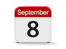 8th September. Calendar web button - The Eighth of September - International Literacy Day and International Day of Journalists` Solidarity, three-dimensional Royalty Free Stock Photo