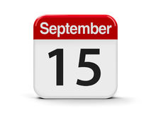 15th September. Calendar web button - The Fifteenth of September - International Day of Democracy and World Lymphoma Awareness Day, three-dimensional rendering stock illustration