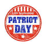 11th September Patriot day colorful grunge style rubber stamp em. Blem royalty free illustration