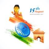 15th Sierpień, Indiański dzień niepodległości z Ashoka kołem i I, Obraz Royalty Free