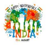 15th Sierpień, India dnia niepodległości świętowań pojęcie z kolorami zaplamia i ręki w flaga państowowa barwią temat Obrazy Stock