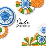 15th Sierpień, India dzień niepodległości Wektoru papieru gwiazdy w indianin flaga kolorach, ashoka koło, ręka rysująca kaligrafi Obraz Stock
