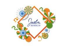 15th Sierpień, India dzień niepodległości Wektoru papieru gwiazdy w indianin flaga kolorach, ashoka koło, ręka rysująca kaligrafi Zdjęcia Stock
