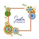 15th Sierpień, India dzień niepodległości Wektoru papieru gwiazdy w indianin flaga kolorach, ashoka koło, ręka rysująca kaligrafi Obrazy Stock