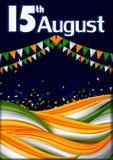 15th Sierpień, Szczęśliwy dzień niepodległości India tło Royalty Ilustracja