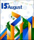 15th Sierpień, Szczęśliwy dzień niepodległości India tło Ilustracji