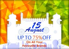 15th Sierpień, Szczęśliwy dzień niepodległości India zakupy sprzedaż i promoci reklamy tło Obraz Royalty Free
