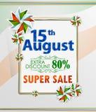 15th Sierpień, Szczęśliwy dzień niepodległości India zakupy sprzedaż i promoci reklamy tło Fotografia Royalty Free