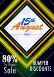 15th Sierpień, Szczęśliwy dzień niepodległości India zakupy sprzedaż i promoci reklamy tło Obrazy Royalty Free