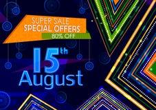 15th Sierpień, Szczęśliwy dzień niepodległości India zakupy sprzedaż i promoci reklamy tło Obraz Stock