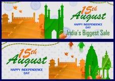 15th Sierpień, Szczęśliwy dzień niepodległości India zakupy sprzedaż i promoci reklamy tło Obrazy Stock