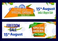 15th Sierpień, Szczęśliwy dzień niepodległości India zakupy sprzedaż i promoci reklamy tło Fotografia Stock