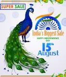 15th Sierpień, Szczęśliwy dzień niepodległości India zakupy sprzedaż i promoci reklamy tło Zdjęcie Stock