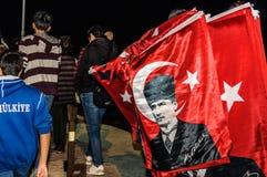 30th Sierpniowa Turecka zwycięstwo dnia parada Przy nocą Obraz Royalty Free