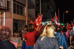 30th Sierpniowa Turecka zwycięstwo dnia parada Przy nocą Fotografia Royalty Free