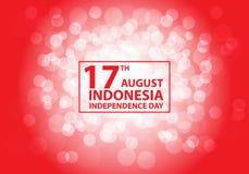 17th Sierpniowego dnia niepodległości Indonezja biały bokeh na czerwonego tekst ramy projekta świętowania wakacyjnym wektorze royalty ilustracja