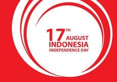 17th Sierpniowego dnia niepodległości Indonezja czerwony tekst na białego okręgu projekta świętowania wakacyjnym wektorze royalty ilustracja