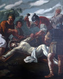 11th stacje krzyż, krzyżowanie: Jezus przybija krzyż Zdjęcie Royalty Free