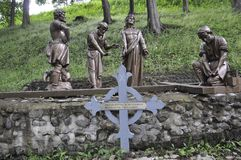 The 10th Station of the Cross with Jesus from Sainte Anne de Baupre Sanctuary from Quebec. Satuary work of the 10th Station of the Cross with Jesus from Sainte royalty free stock image