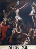 12th stationer av korset, Jesus dör på korset Arkivbilder