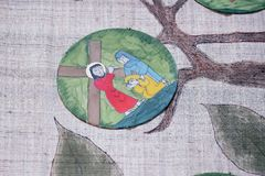 8th stationer av korset, Jesus möter döttrarna av Jerusalem Arkivbild