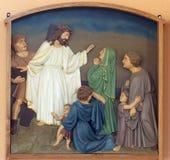8th stationer av korset, Jesus möter döttrarna av Jerusalem Royaltyfria Bilder