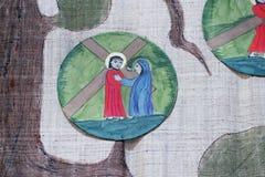 4th stationer av korset, Jesus möter hans moder Royaltyfria Bilder