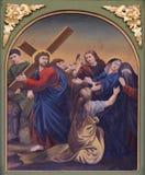 4th stationer av korset, Jesus möter hans moder Fotografering för Bildbyråer