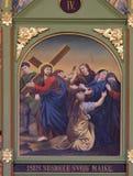 4th stationer av korset, Jesus möter hans moder Royaltyfri Bild