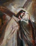4th stationer av korset, Jesus möter hans moder stock illustrationer