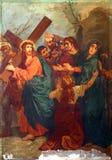 4th stationer av korset, Jesus möter hans moder Arkivfoton