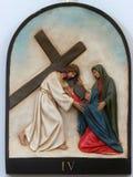 4th stationer av korset, Jesus möter hans moder Royaltyfria Foton