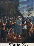 10th stationer av korset, Jesus rivs av av hans plagg Royaltyfri Foto