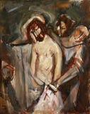 10th stationer av korset, Jesus rivs av av hans plagg stock illustrationer