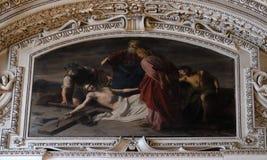 11th stationer av korset, korsfästelse: Jesus spikas till korset Arkivbilder