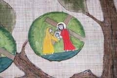 6th stationer av korset, Veronica torkar framsidan av Jesus Fotografering för Bildbyråer