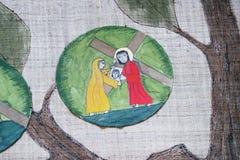 6th stationer av korset, Veronica torkar framsidan av Jesus Royaltyfria Foton