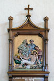 11th Stations of the Cross, Crucifixion: Jesus is nailed to the cross. Mother Teresa cathedral in Vau i Dejes, Albania Stock Images